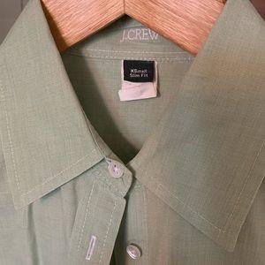 J Crew green button down slim fit